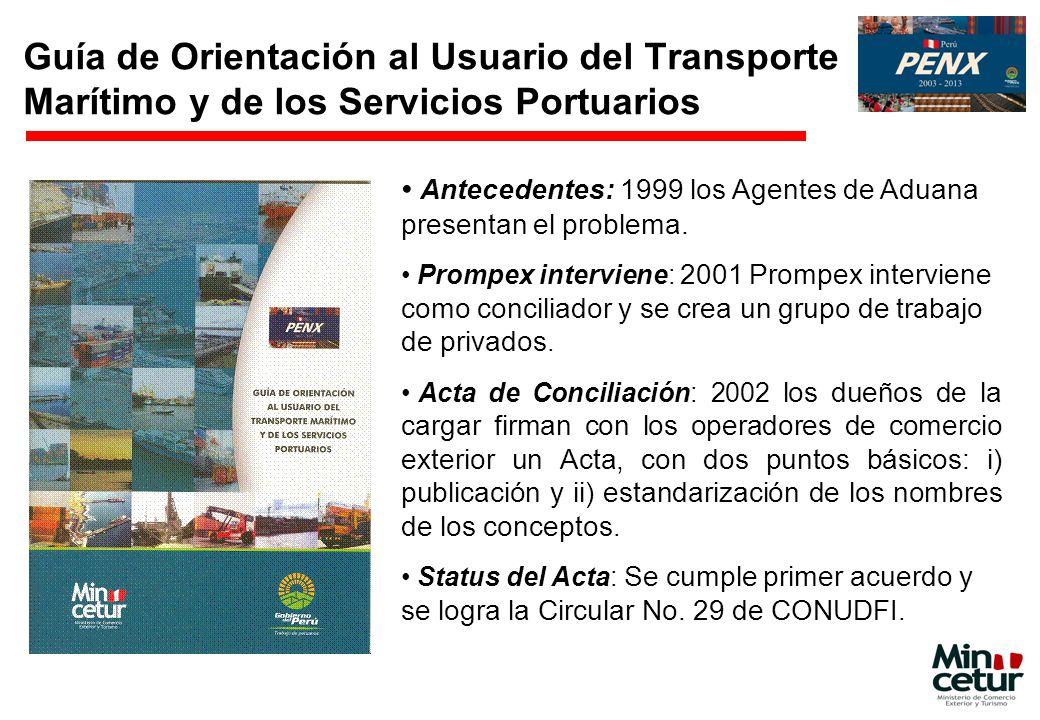Guía de Orientación al Usuario del Transporte Marítimo y de los Servicios Portuarios Antecedentes: 1999 los Agentes de Aduana presentan el problema. P