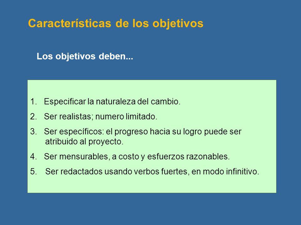 Características de los objetivos 1. Especificar la naturaleza del cambio. 2. Ser realistas; numero limitado. 3. Ser específicos: el progreso hacia su