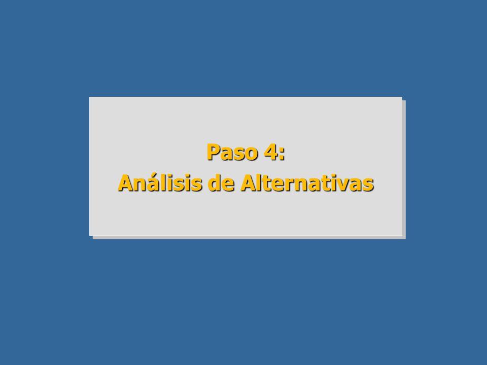 Paso 4: Análisis de Alternativas Paso 4: Análisis de Alternativas