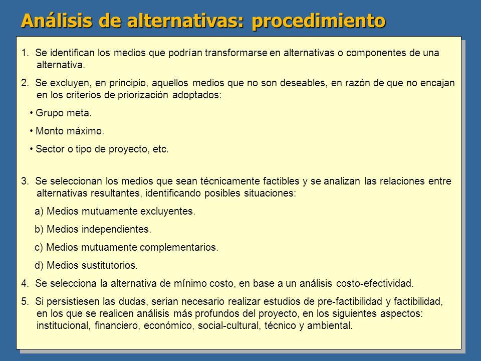 Análisis de alternativas: procedimiento 1. Se identifican los medios que podrían transformarse en alternativas o componentes de una alternativa. 2. Se