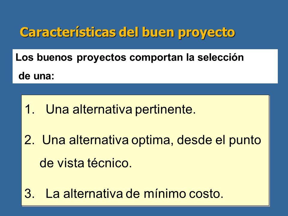 Características del buen proyecto 1. Una alternativa pertinente. 2. Una alternativa optima, desde el punto de vista técnico. 3. La alternativa de míni