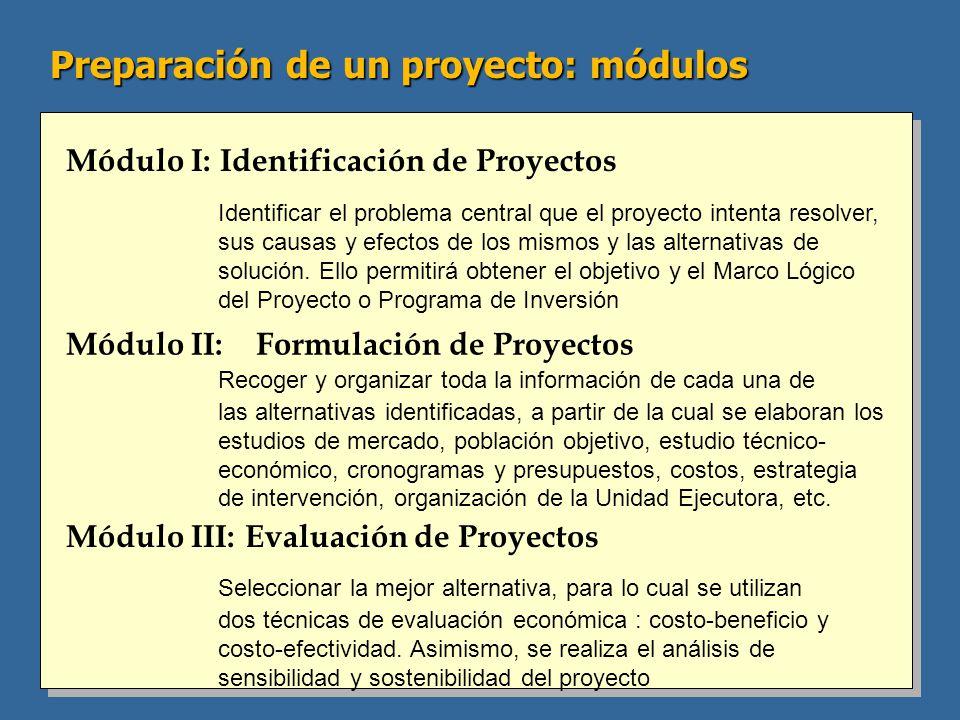 Módulo I: Identificación de Proyectos Módulo II: Formulación de Proyectos Módulo III: Evaluación de Proyectos Identificar el problema central que el proyecto intenta resolver, sus causas y efectos de los mismos y las alternativas de solución.