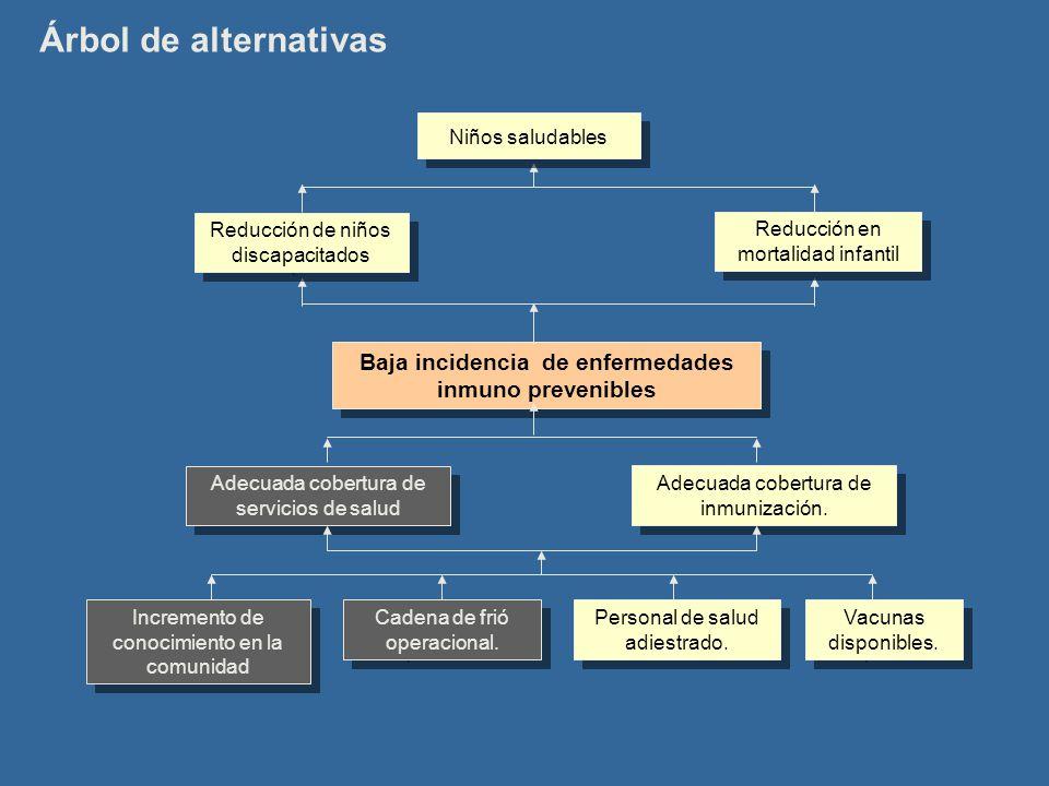 Árbol de alternativas Baja incidencia de enfermedades inmuno prevenibles Adecuada cobertura de inmunización. Adecuada cobertura de servicios de salud