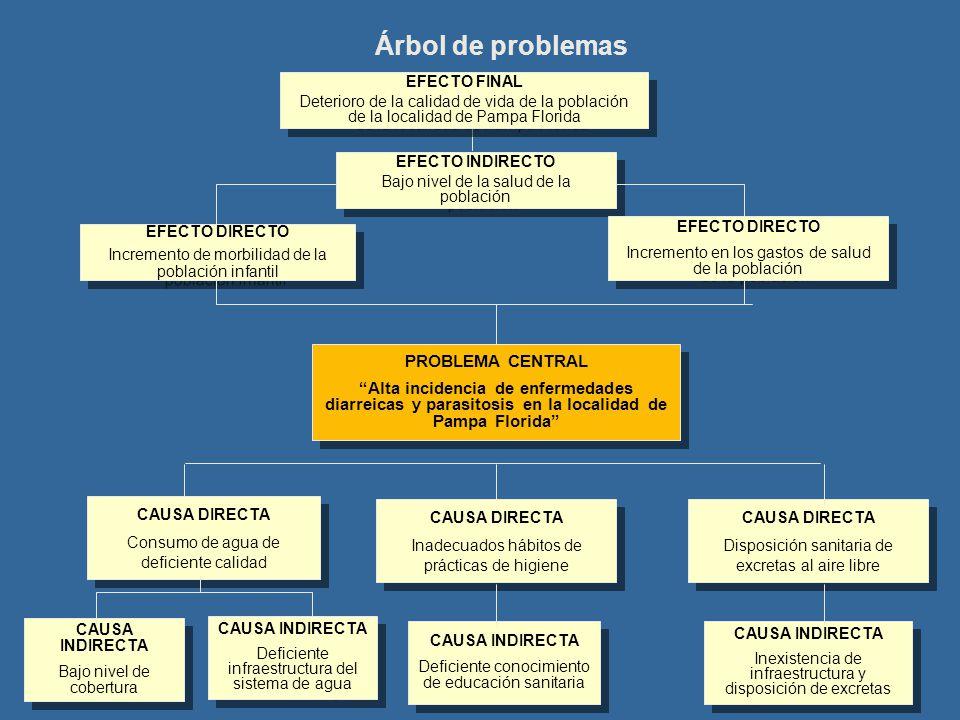 Árbol de problemas EFECTO INDIRECTO Bajo nivel de la salud de la población EFECTO INDIRECTO Bajo nivel de la salud de la población EFECTO DIRECTO Incr