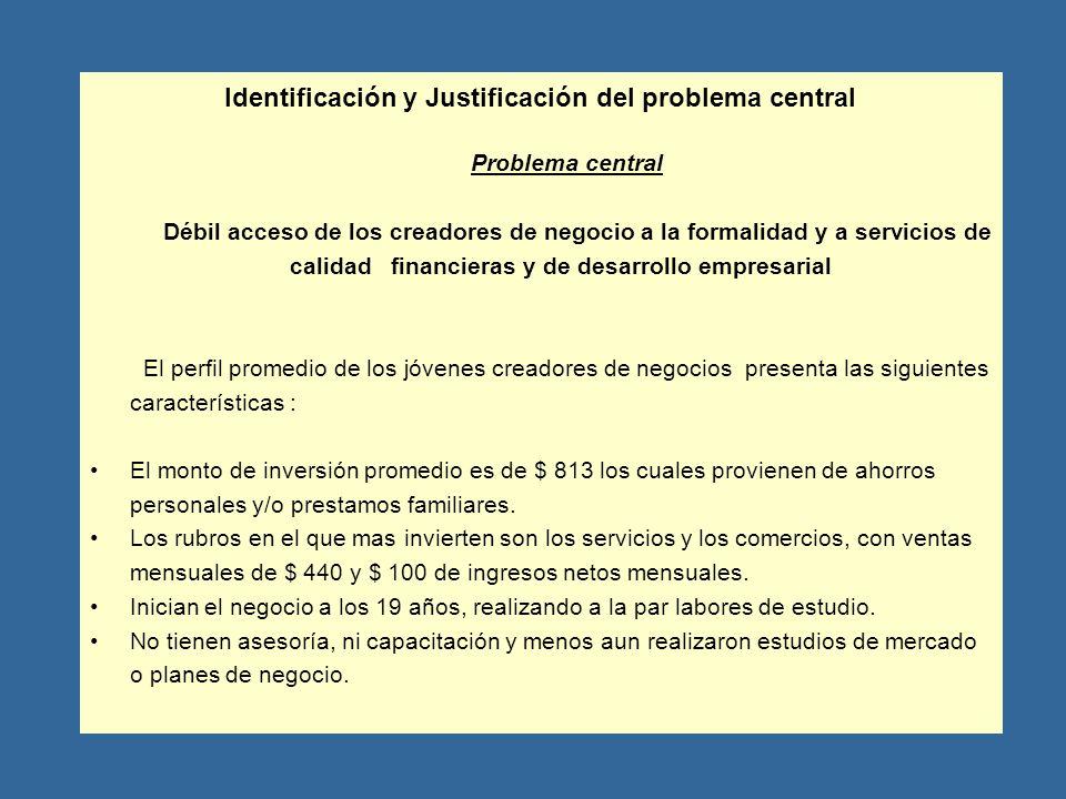 Identificación y Justificación del problema central Problema central Débil acceso de los creadores de negocio a la formalidad y a servicios de calidad