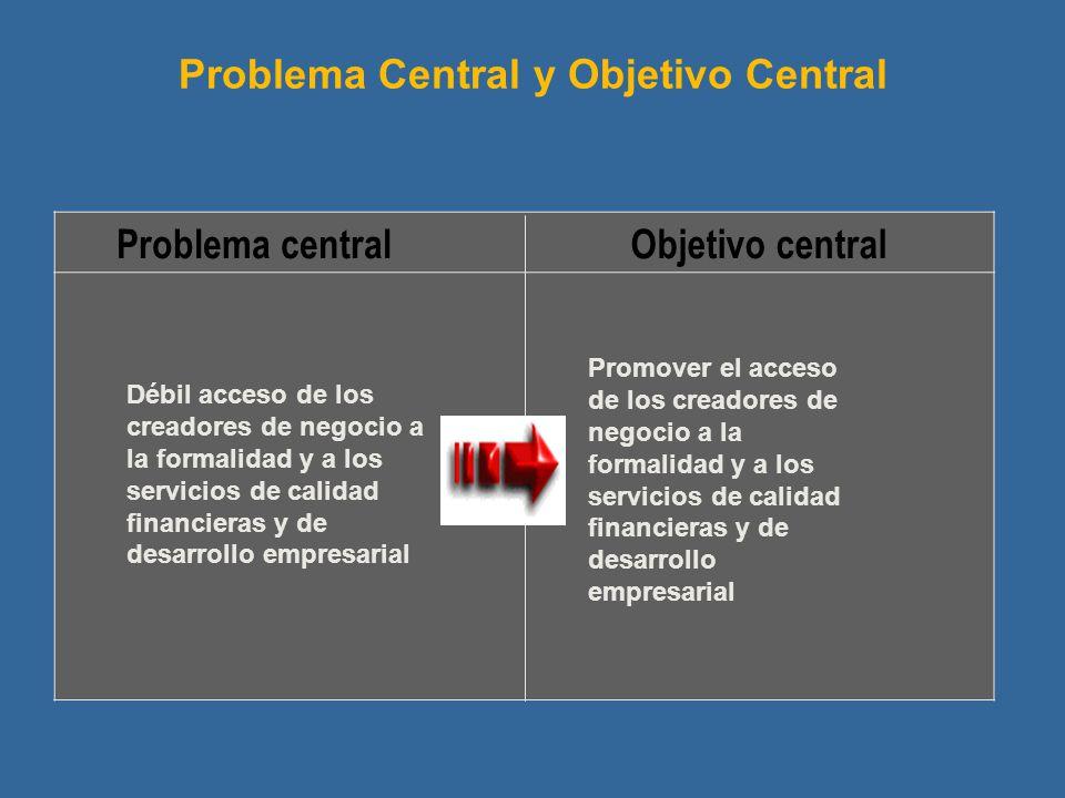 Problema centralObjetivo central Problema Central y Objetivo Central Promover el acceso de los creadores de negocio a la formalidad y a los servicios de calidad financieras y de desarrollo empresarial Débil acceso de los creadores de negocio a la formalidad y a los servicios de calidad financieras y de desarrollo empresarial