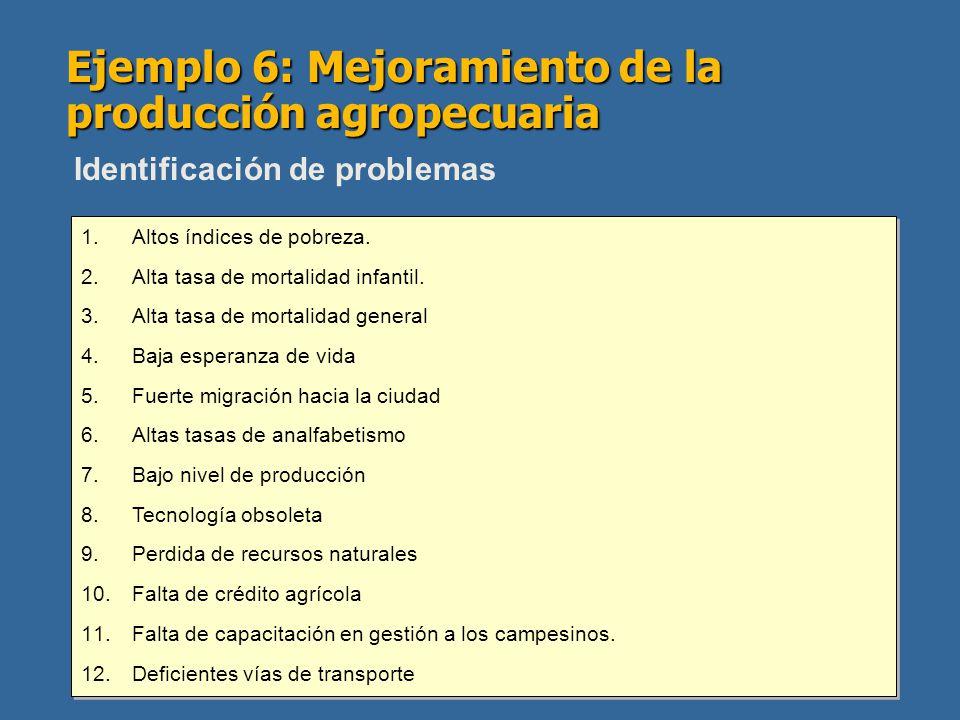 Ejemplo 6: Mejoramiento de la producción agropecuaria 1.Altos índices de pobreza. 2.Alta tasa de mortalidad infantil. 3.Alta tasa de mortalidad genera