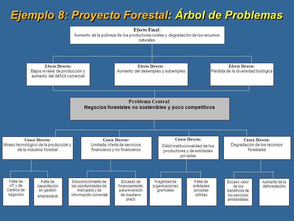 Efecto Final: Aumento de la pobreza de los productores rurales y degradación de los recursos naturales Problema Central : Negocios forestales no sostenibles y poco competitivos Efecto Directo: Pérdida de la diversidad biológica Efecto Directo: Aumento del desempleo y subempleo Causa Directa: Atraso tecnológico de la producción y de la industria forestal Efecto Directo: Bajos niveles de producción y aumento del déficit comercial Causa Directa: Débil institucionalidad de los productores y de entidades privadas Causa Directa: Limitada oferta de servicios financieros y no financieros Falta de AT y de Centros de negocios Falta de capacitación en gestión empresarial Desconocimiento de las oportunidades de mercados y de información comercial Escasez de financiamiento para inversión de mediano plazo Fragilidad de organizaciones gremiales Falta de entidades privadas sólidas Ejemplo 8: Proyecto Forestal: Árbol de Problemas Causa Directa: Degradación de los recursos forestales Escaso valor de los beneficios de los servicios ambientales Aumento de la deforestación