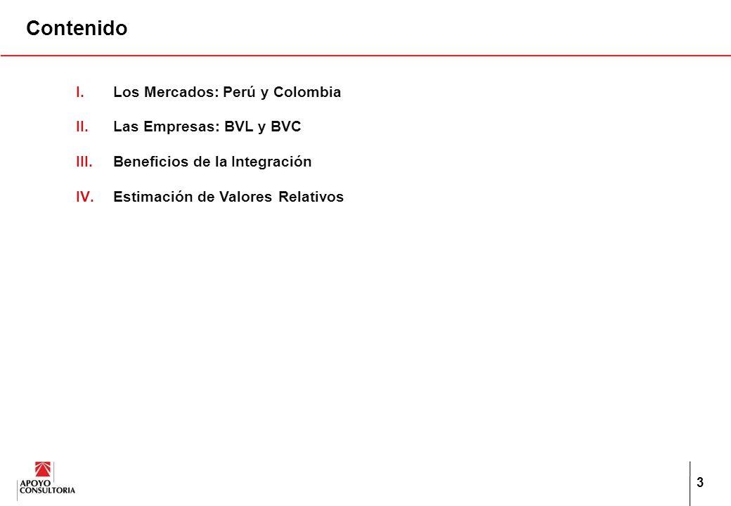 3 Contenido I.Los Mercados: Perú y Colombia II.Las Empresas: BVL y BVC III.Beneficios de la Integración IV.Estimación de ValoresRelativos