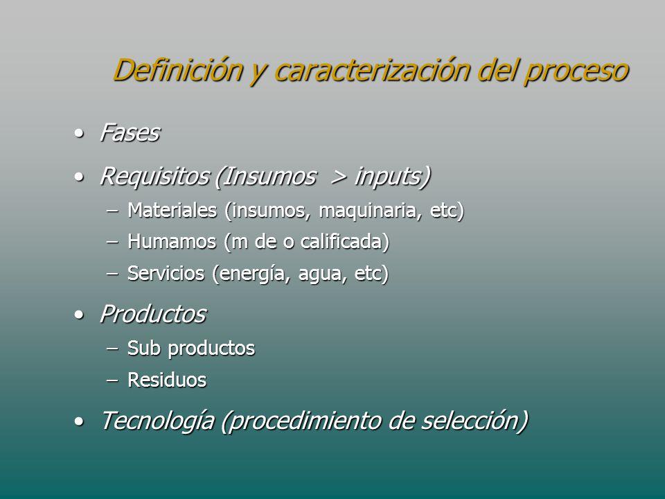 Definición y caracterización del proceso FasesFases Requisitos (Insumos > inputs)Requisitos (Insumos > inputs) –Materiales (insumos, maquinaria, etc)