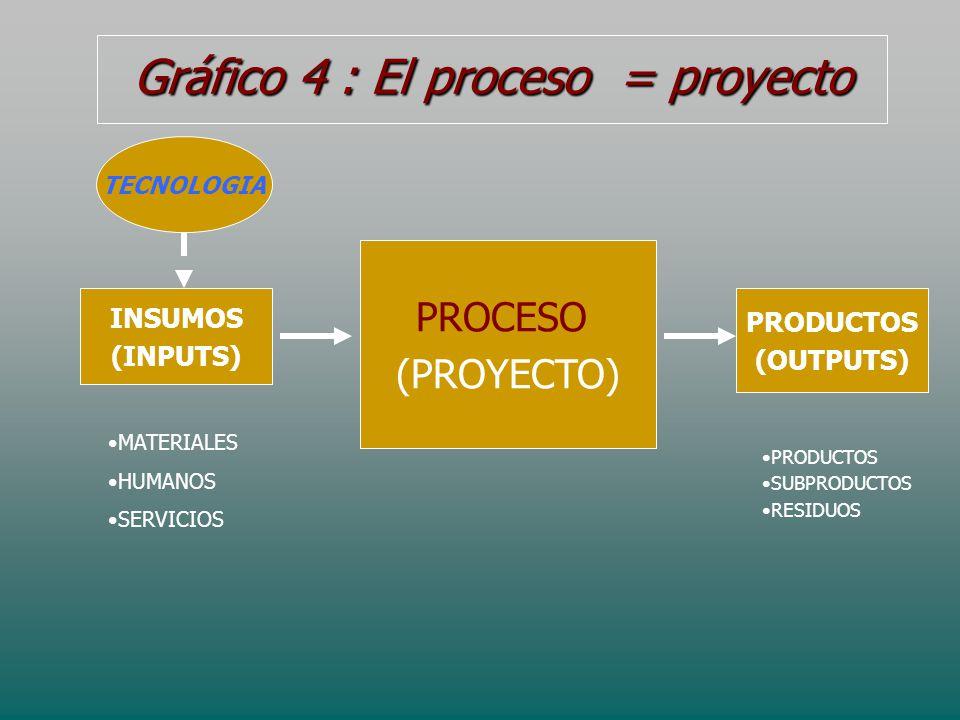 Gráfico 4 : El proceso = proyecto PROCESO (PROYECTO) INSUMOS (INPUTS) PRODUCTOS (OUTPUTS) MATERIALES HUMANOS SERVICIOS PRODUCTOS SUBPRODUCTOS RESIDUOS