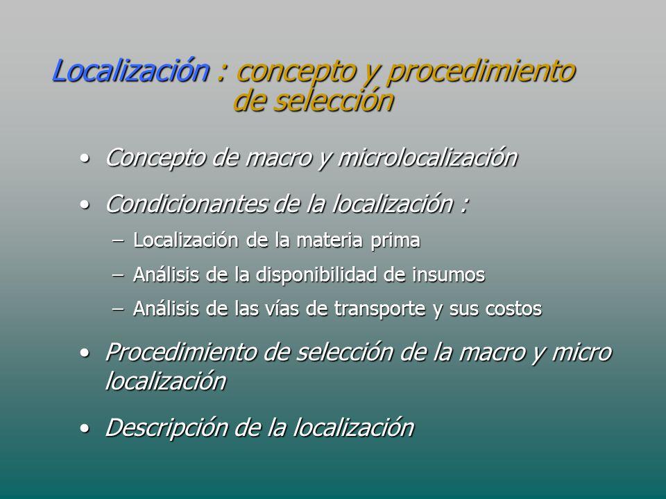 Localización : concepto y procedimiento de selección Concepto de macro y microlocalizaciónConcepto de macro y microlocalización Condicionantes de la l