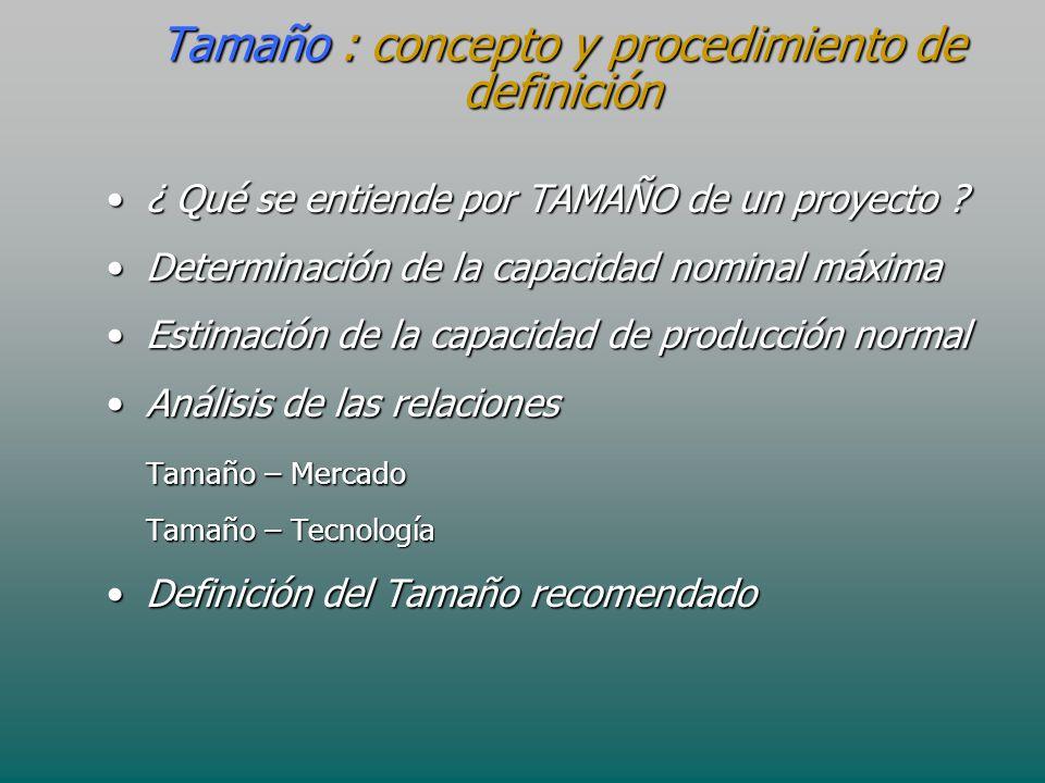 Tamaño : concepto y procedimiento de definición ¿ Qué se entiende por TAMAÑO de un proyecto ?¿ Qué se entiende por TAMAÑO de un proyecto ? Determinaci