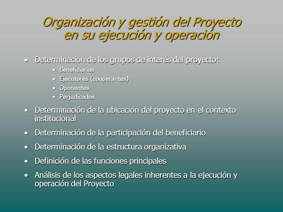 Organización y gestión del Proyecto en su ejecución y operación Determinación de los grupos de interés del proyecto:Determinación de los grupos de int