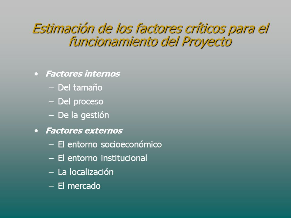 Estimación de los factores críticos para el funcionamiento del Proyecto Factores internos – –Del tamaño – –Del proceso – –De la gestión Factores exter