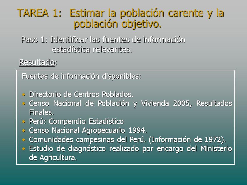 Paso 1: Identificar las fuentes de información estadística relevantes. Fuentes de información disponibles: Directorio de Centros Poblados.Directorio d