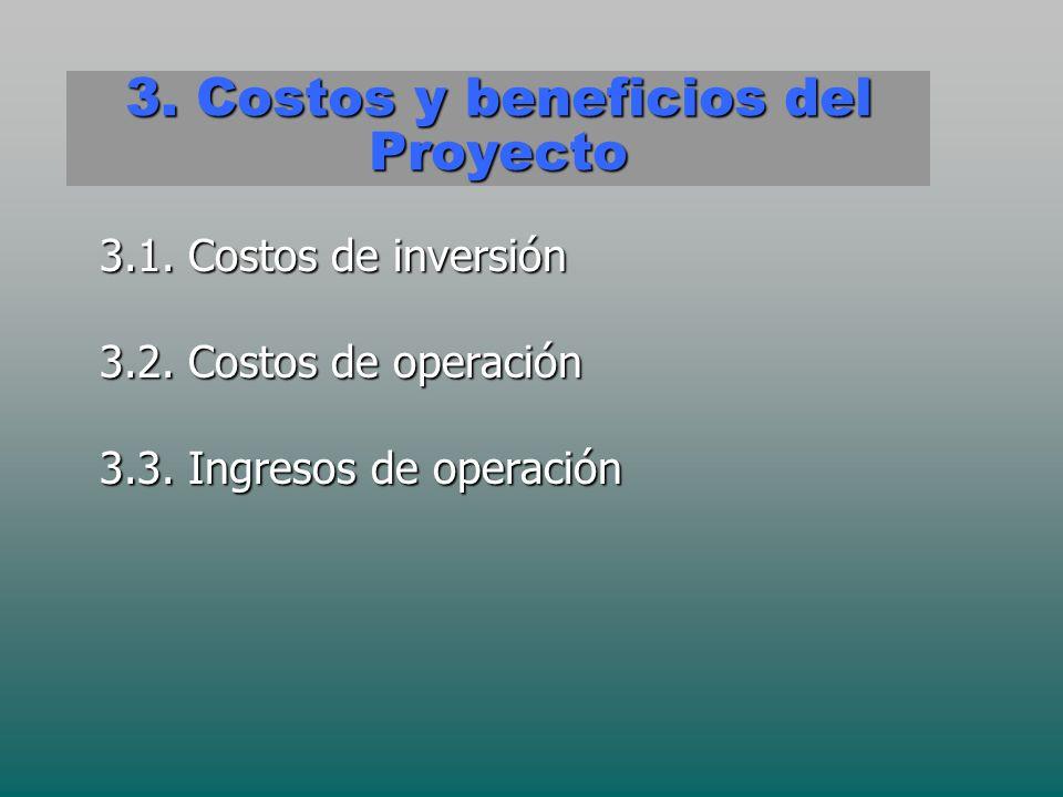 3. Costos y beneficios del Proyecto 3.1. Costos de inversión 3.2. Costos de operación 3.3. Ingresos de operación