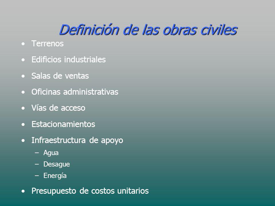 Definición de las obras civiles Terrenos Edificios industriales Salas de ventas Oficinas administrativas Vías de acceso Estacionamientos Infraestructu