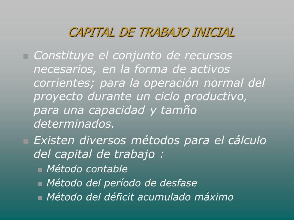 Constituye el conjunto de recursos necesarios, en la forma de activos corrientes; para la operación normal del proyecto durante un ciclo productivo, p