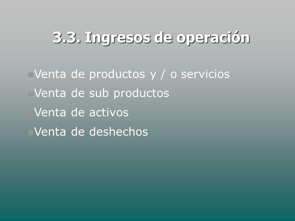 Venta de productos y / o servicios Venta de sub productos Venta de activos Venta de deshechos 3.3. Ingresos de operación