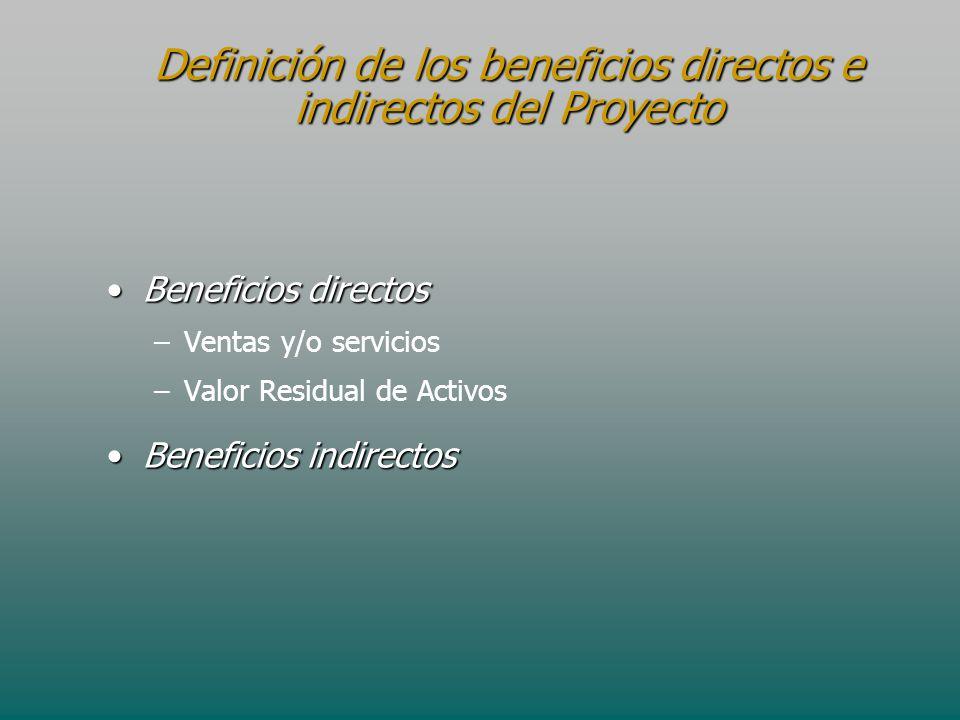 Definición de los beneficios directos e indirectos del Proyecto Beneficios directosBeneficios directos – –Ventas y/o servicios – –Valor Residual de Ac