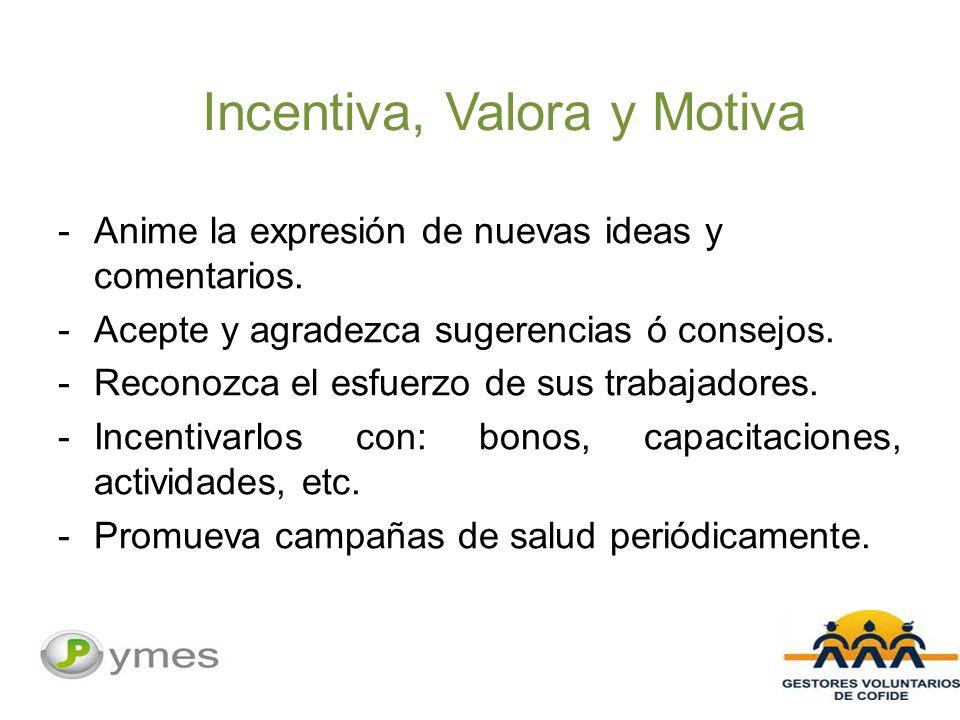 Incentiva, Valora y Motiva -Anime la expresión de nuevas ideas y comentarios.