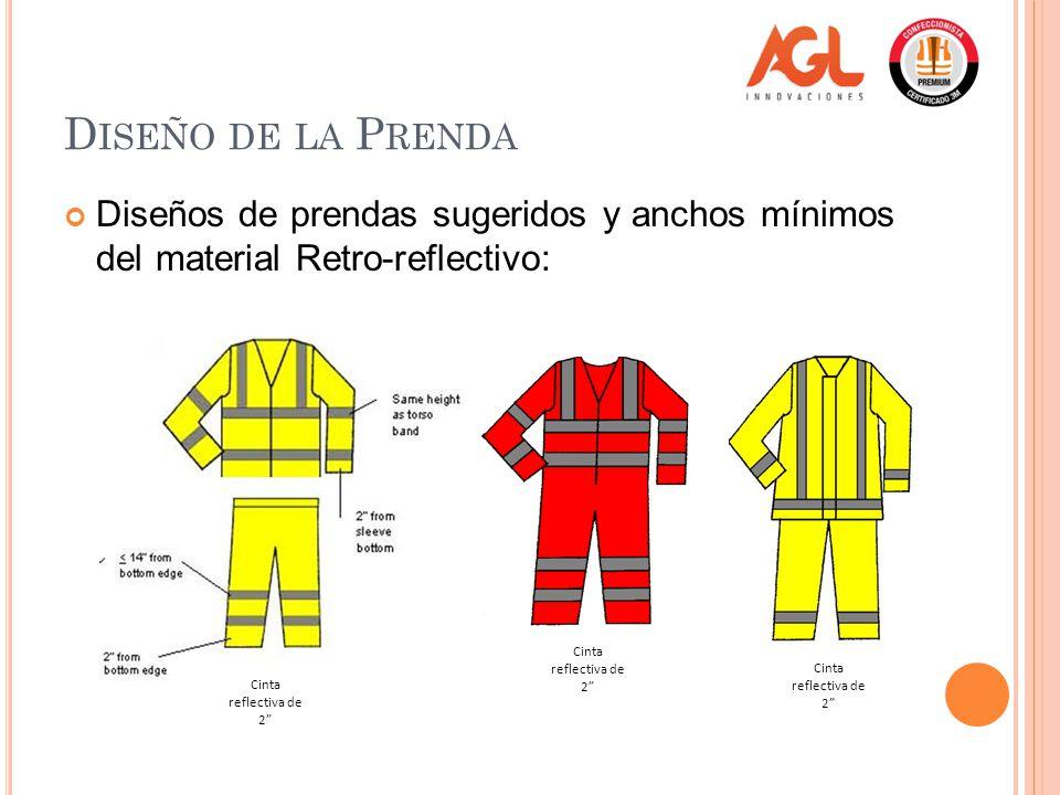 D ISEÑO DE LA P RENDA Diseños de prendas sugeridos y anchos mínimos del material Retro-reflectivo: Cinta reflectiva de 2