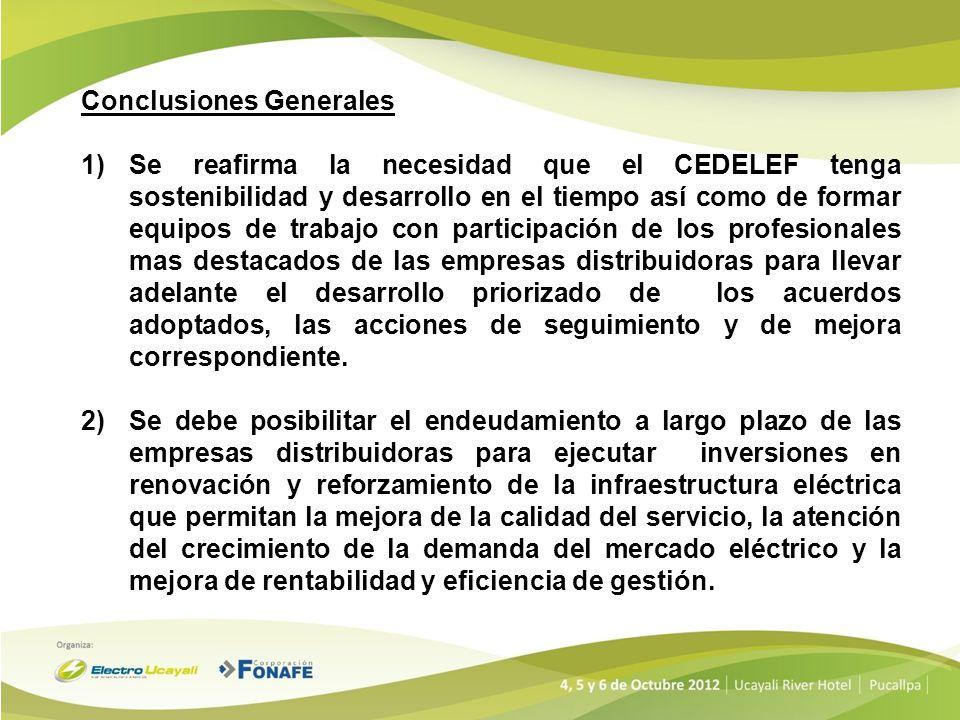 Conclusiones Generales 3)Es importante se implemente la reforma de segunda generación de la distribución aplicando los conceptos del libro blanco de la distribución y reglamentando los aspectos complementarios que pudieran afectar la sostenibilidad de las empresas.