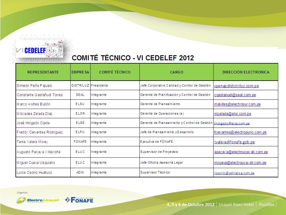 Gracias Ing. Simeón Peña Pajuelo Presidente Comité Técnico – VI CEDELEF