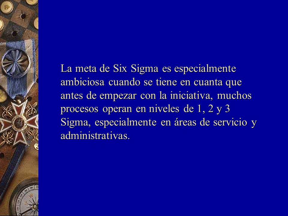 La meta de Six Sigma es especialmente ambiciosa cuando se tiene en cuanta que antes de empezar con la iniciativa, muchos procesos operan en niveles de 1, 2 y 3 Sigma, especialmente en áreas de servicio y administrativas.