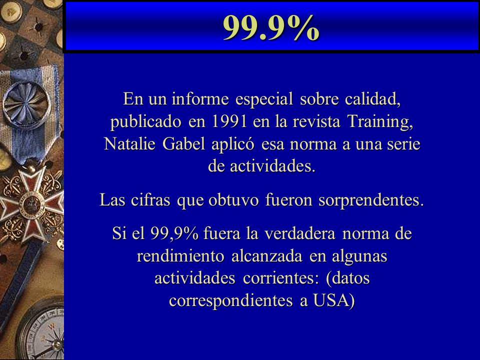 En un informe especial sobre calidad, publicado en 1991 en la revista Training, Natalie Gabel aplicó esa norma a una serie de actividades.