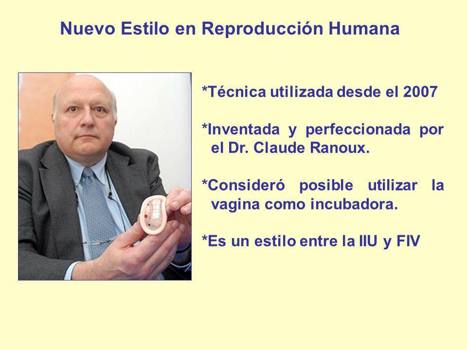 *Técnica utilizada desde el 2007 *Inventada y perfeccionada por el Dr. Claude Ranoux. *Consideró posible utilizar la vagina como incubadora. *Es un es