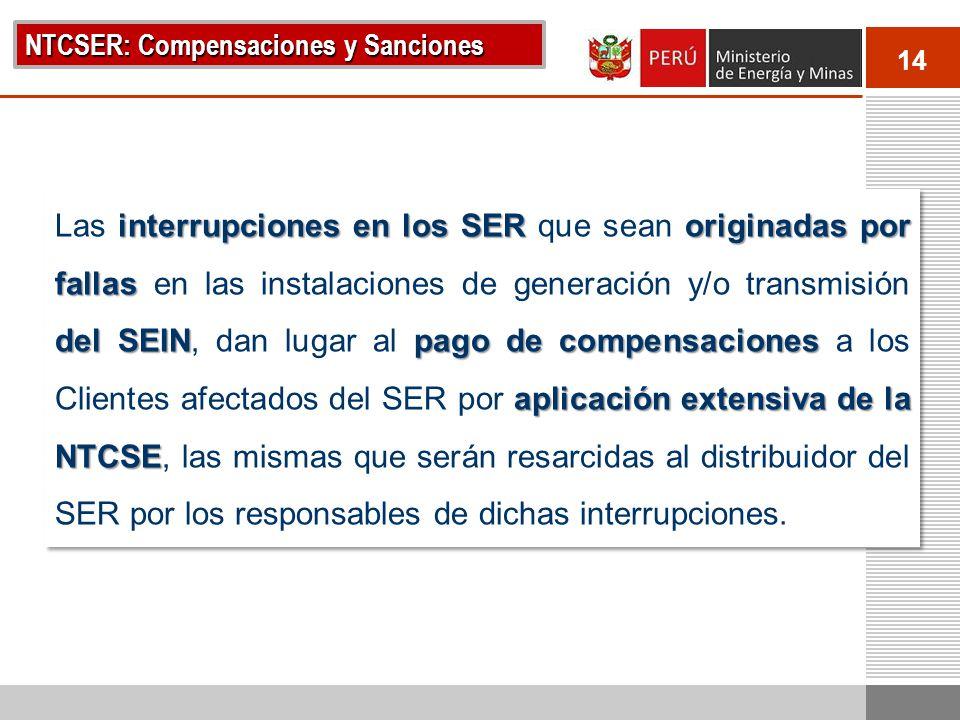 14 NTCSER: Compensaciones y Sanciones interrupciones en los SER originadas por fallas del SEINpago de compensaciones aplicación extensiva de la NTCSE