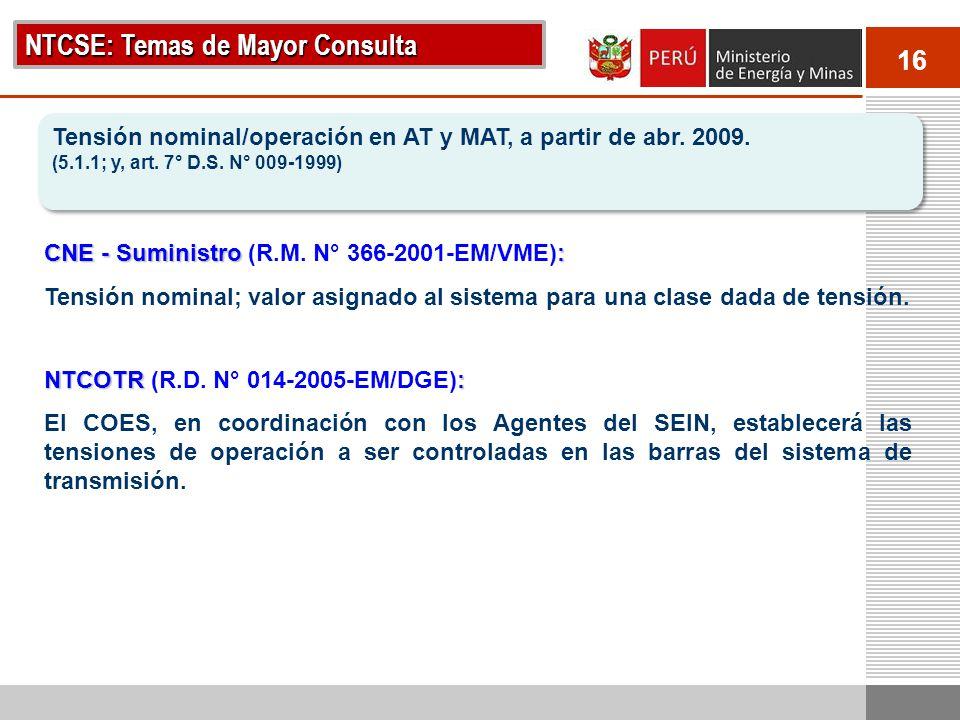 16 NTCSE: Temas de Mayor Consulta Tensión nominal/operación en AT y MAT, a partir de abr. 2009. (5.1.1; y, art. 7° D.S. N° 009-1999) Tensión nominal/o