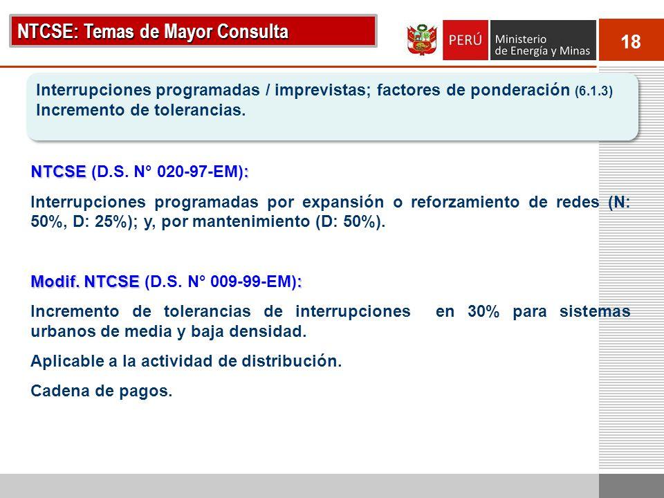 18 NTCSE: Temas de Mayor Consulta Interrupciones programadas / imprevistas; factores de ponderación (6.1.3) Incremento de tolerancias. Interrupciones
