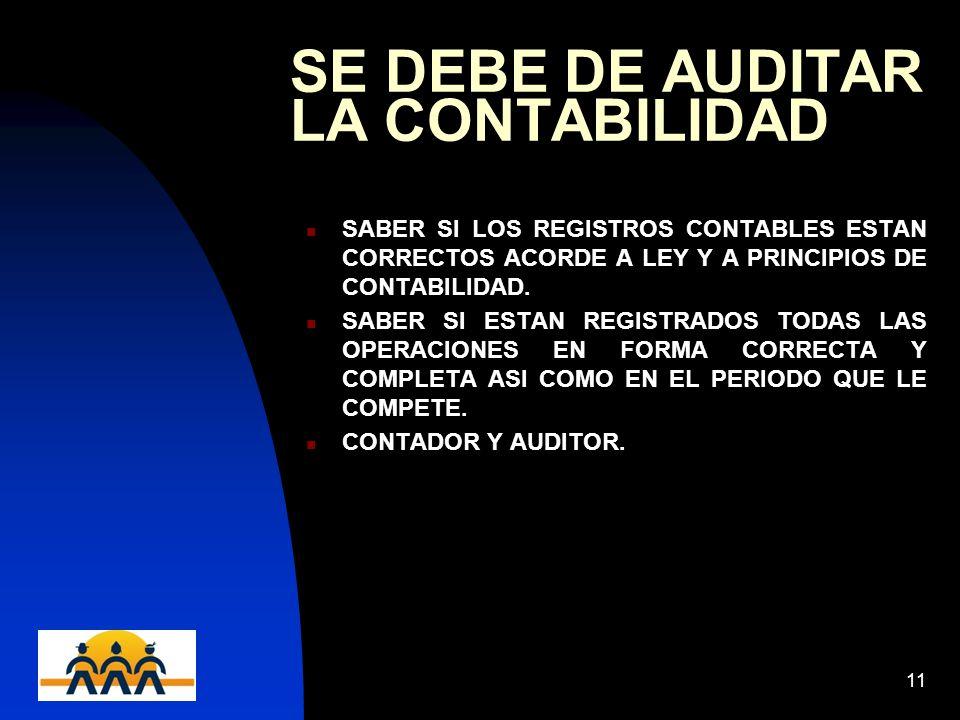 12/06/201411 SE DEBE DE AUDITAR LA CONTABILIDAD SABER SI LOS REGISTROS CONTABLES ESTAN CORRECTOS ACORDE A LEY Y A PRINCIPIOS DE CONTABILIDAD. SABER SI