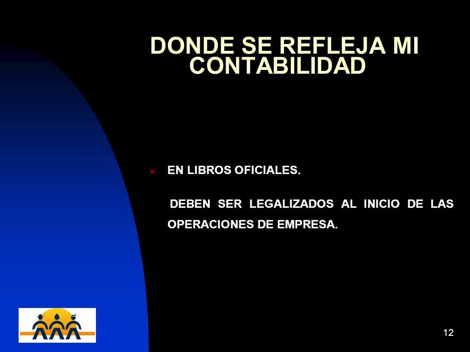12/06/201412 DONDE SE REFLEJA MI CONTABILIDAD EN LIBROS OFICIALES. DEBEN SER LEGALIZADOS AL INICIO DE LAS OPERACIONES DE EMPRESA.
