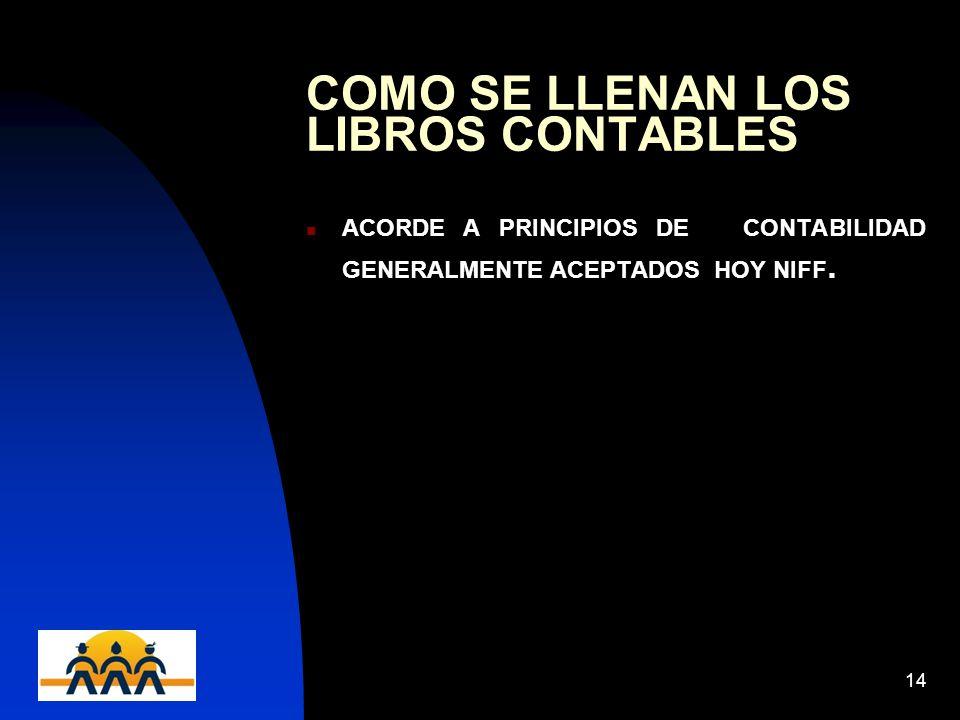 12/06/201414 COMO SE LLENAN LOS LIBROS CONTABLES ACORDE A PRINCIPIOS DE CONTABILIDAD GENERALMENTE ACEPTADOS HOY NIFF.