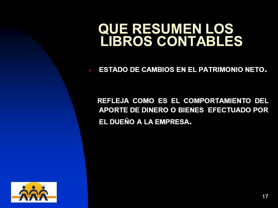 12/06/201417 QUE RESUMEN LOS LIBROS CONTABLES ESTADO DE CAMBIOS EN EL PATRIMONIO NETO.
