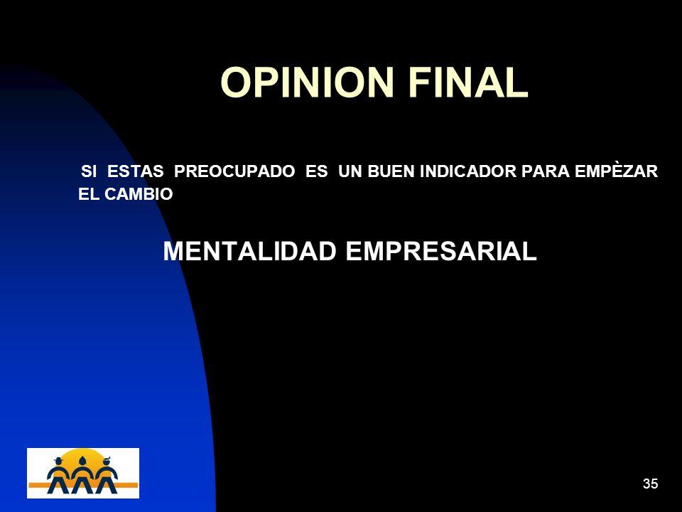 12/06/201435 OPINION FINAL SI ESTAS PREOCUPADO ES UN BUEN INDICADOR PARA EMPÈZAR EL CAMBIO MENTALIDAD EMPRESARIAL
