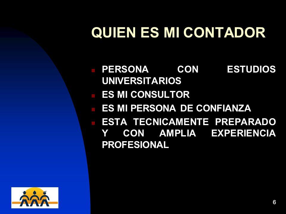 12/06/20146 QUIEN ES MI CONTADOR PERSONA CON ESTUDIOS UNIVERSITARIOS ES MI CONSULTOR ES MI PERSONA DE CONFIANZA ESTA TECNICAMENTE PREPARADO Y CON AMPL