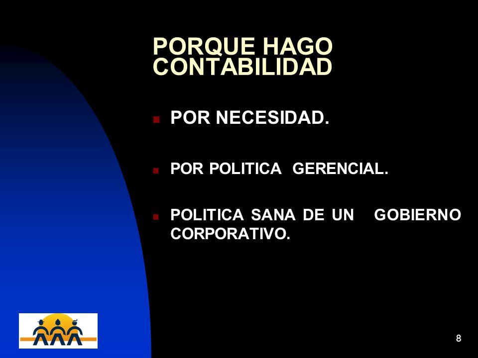 12/06/20148 PORQUE HAGO CONTABILIDAD POR NECESIDAD. POR POLITICA GERENCIAL. POLITICA SANA DE UN GOBIERNO CORPORATIVO.