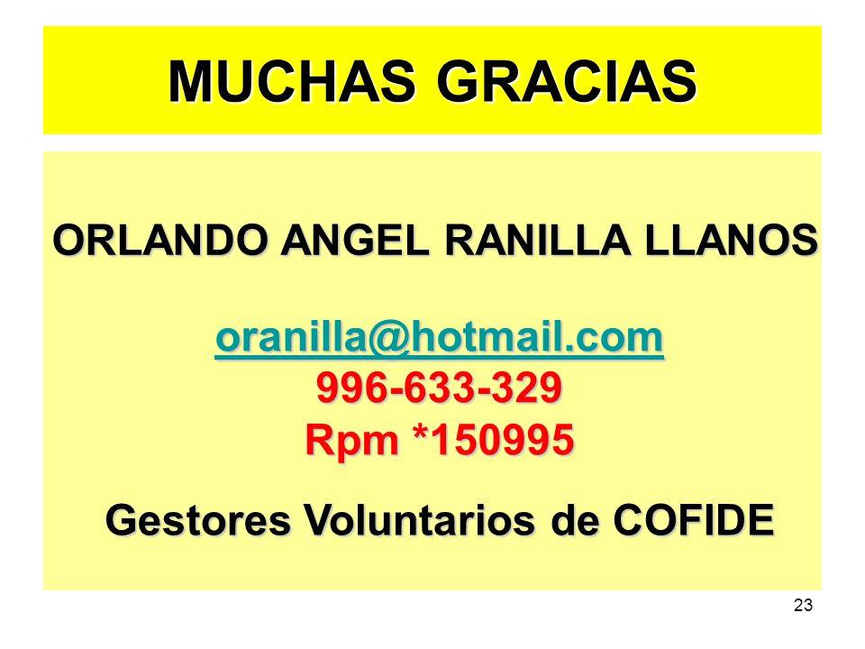 23 MUCHAS GRACIAS ORLANDO ANGEL RANILLA LLANOS oranilla@hotmail.com 996-633-329 Rpm *150995 Gestores Voluntarios de COFIDE