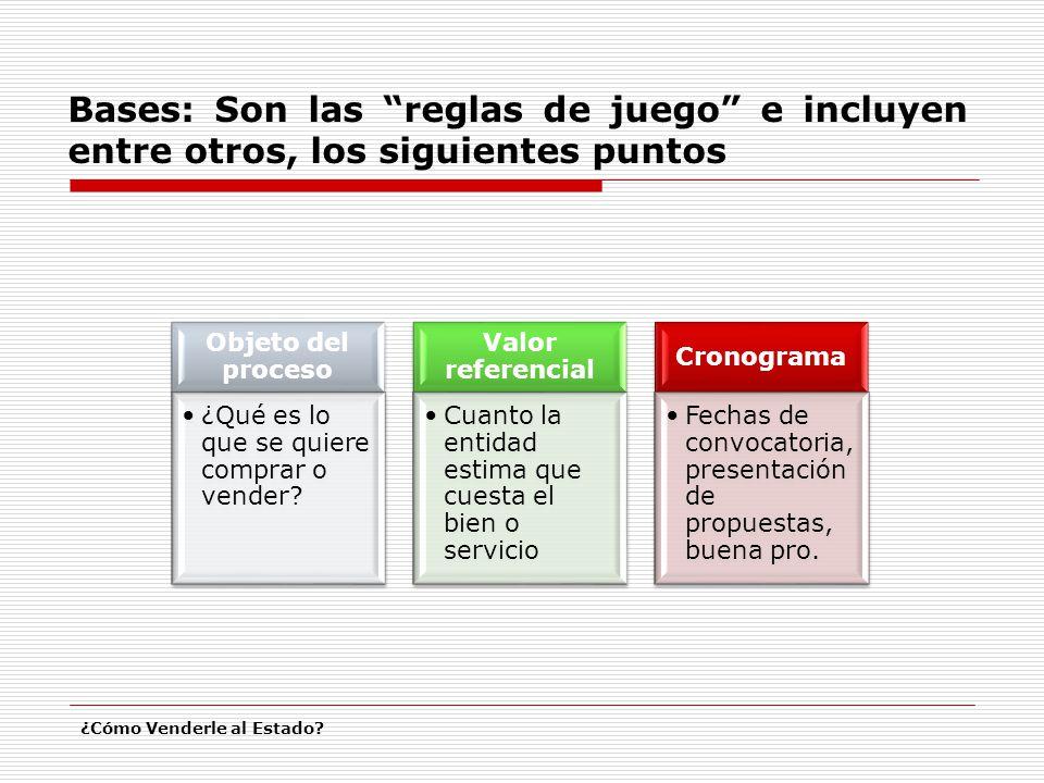 Bases: Son las reglas de juego e incluyen entre otros, los siguientes puntos ¿Cómo Venderle al Estado? Objeto del proceso ¿Qué es lo que se quiere com