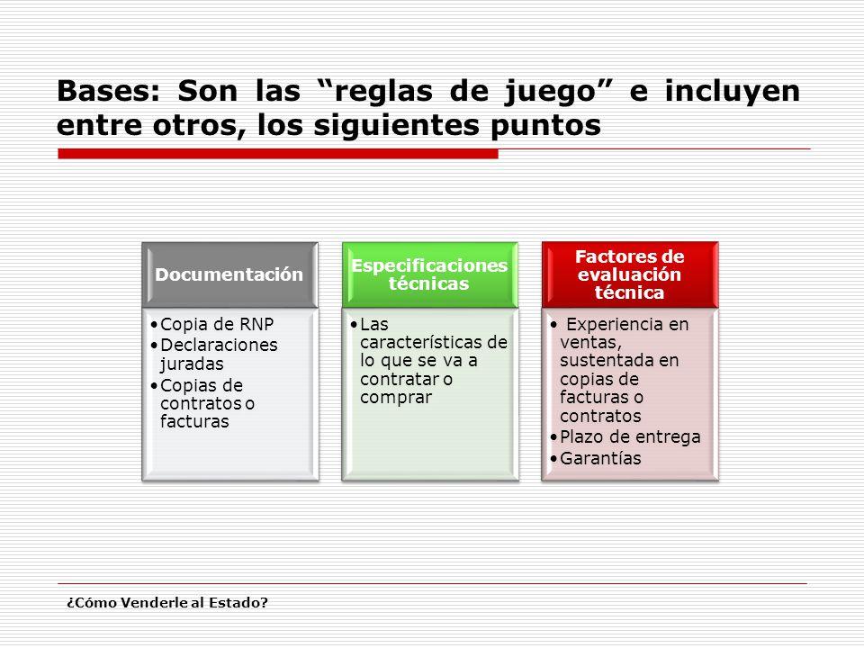 Bases: Son las reglas de juego e incluyen entre otros, los siguientes puntos ¿Cómo Venderle al Estado? Documentación Copia de RNP Declaraciones jurada