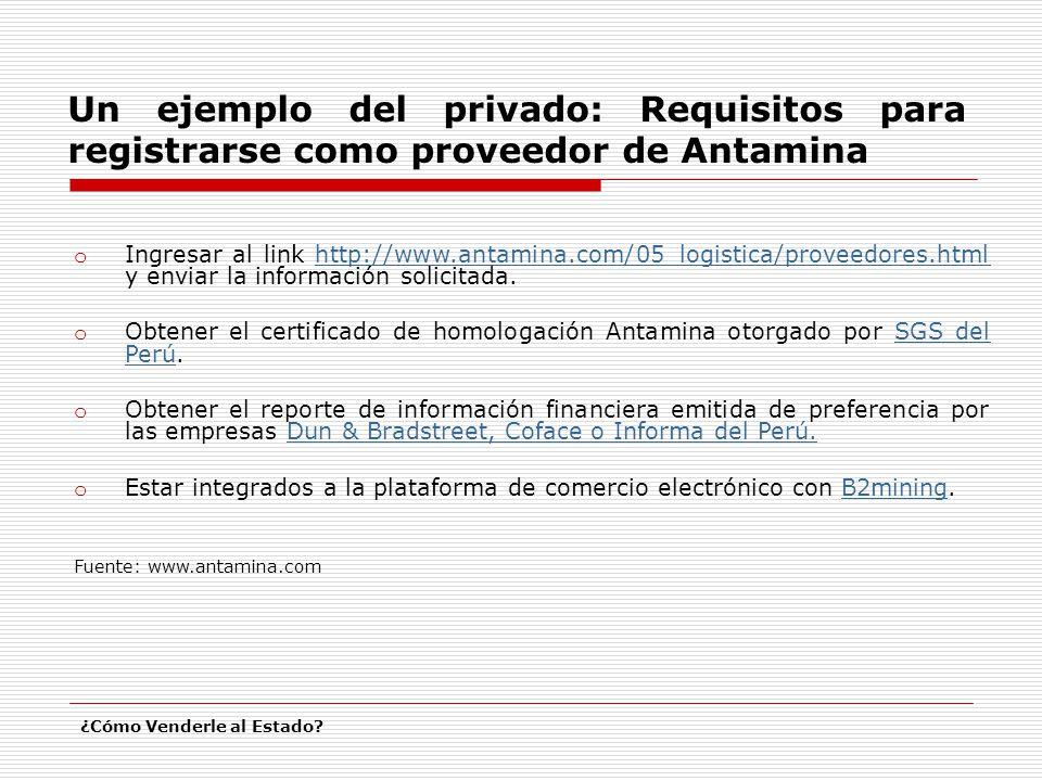 o Ingresar al link http://www.antamina.com/05_logistica/proveedores.html y enviar la información solicitada.http://www.antamina.com/05_logistica/proveedores.html o Obtener el certificado de homologación Antamina otorgado por SGS del Perú.SGS del Perú o Obtener el reporte de información financiera emitida de preferencia por las empresas Dun & Bradstreet, Coface o Informa del Perú.Dun & Bradstreet, Coface o Informa del Perú.