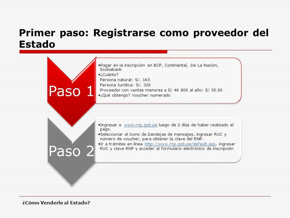 Primer paso: Registrarse como proveedor del Estado ¿Cómo Venderle al Estado? Paso 1 Pagar en la inscripción en BCP, Continental, De La Nación, Scotiab