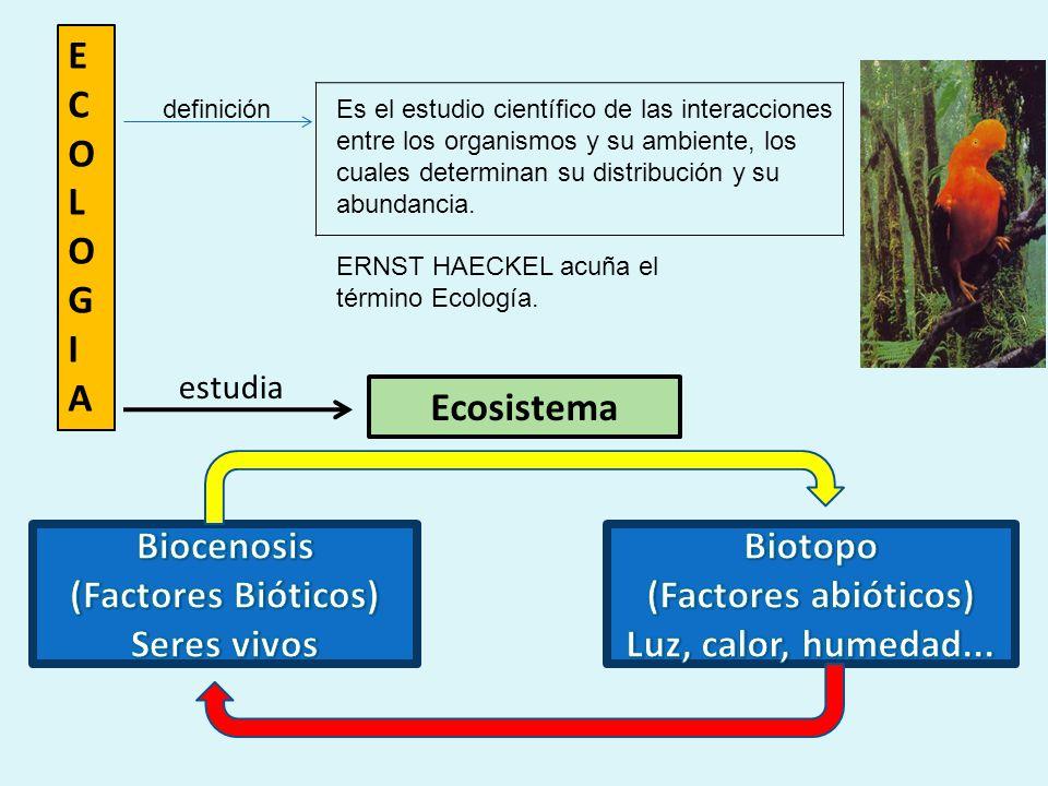ECOLOGIAECOLOGIA Ecosistema estudia ERNST HAECKEL acuña el término Ecología.