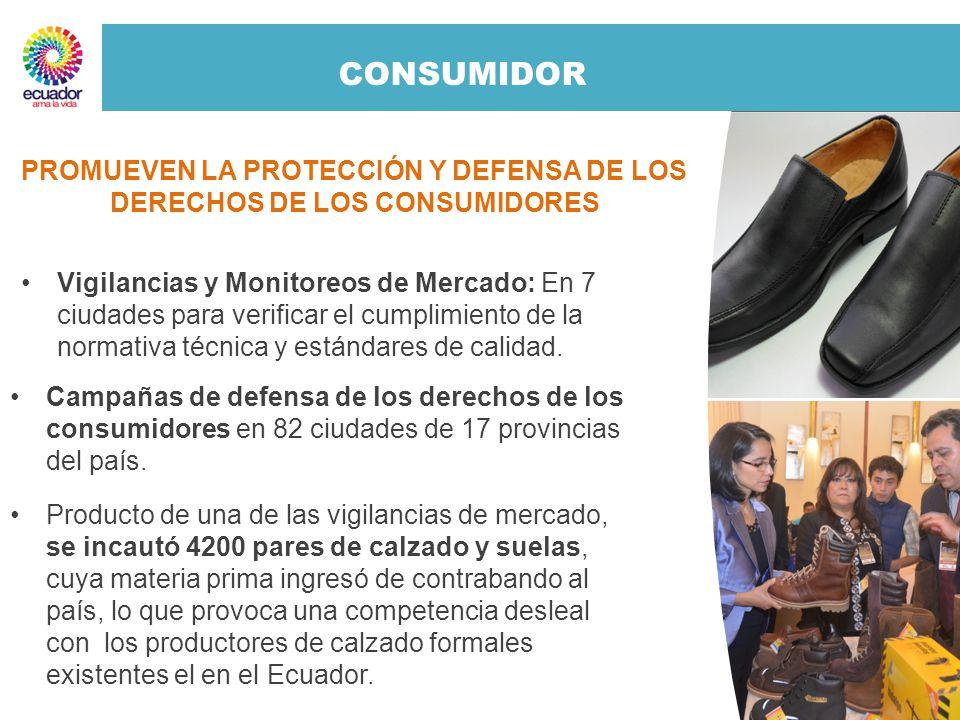 CONSUMIDOR Vigilancias y Monitoreos de Mercado: En 7 ciudades para verificar el cumplimiento de la normativa técnica y estándares de calidad. Campañas
