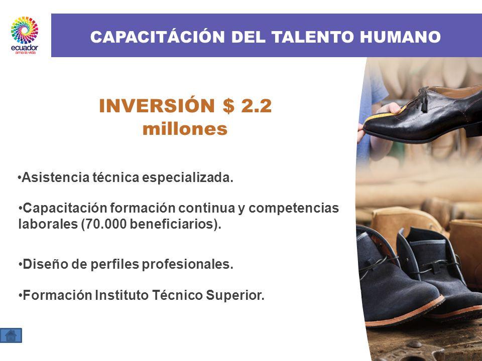 CAPACITÁCIÓN DEL TALENTO HUMANO INVERSIÓN $ 2.2 millones Asistencia técnica especializada. Capacitación formación continua y competencias laborales (7